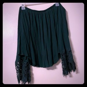 dark green off shoulder with bell sleeves
